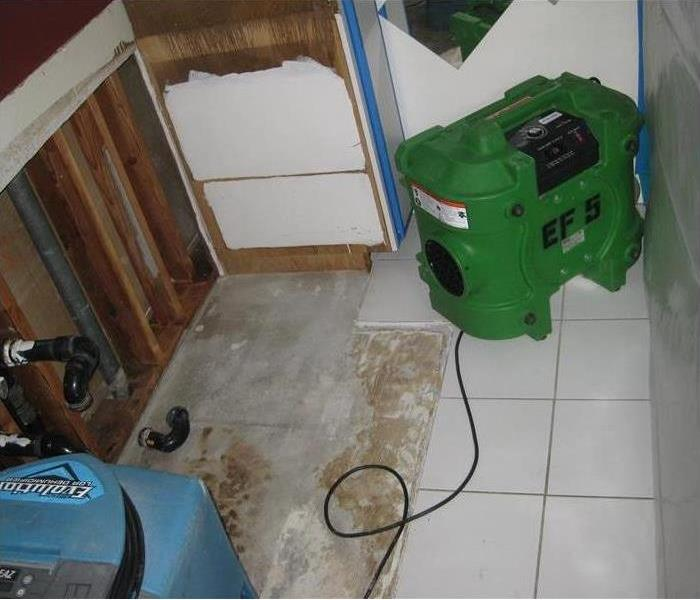 a picture of a bathroom that was affected by mold